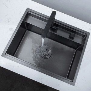 Negro Hidden Kitchen lavamanos con plegable grifo del fregadero de cocina de acero inoxidable de doble cuenco encima de Barra Undermount Fregadero