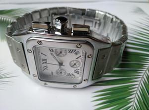 Nova Qualidade de Alta Qualidade Six Needle Série de Luxo Mens Square Relógios Todos os Discos Trabalho Quartz Assista Top Designer Relógios Marca Moda Aço Abastia