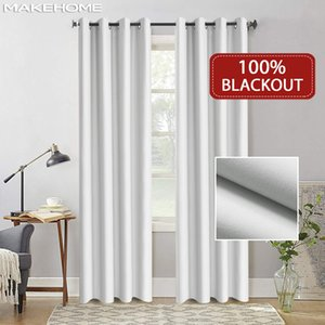 Flocked 100% Blackout Window Curtains Thermal Solid Curtain For Bedroom Living Room Fire Retardant Fabric Drapes LJ201224
