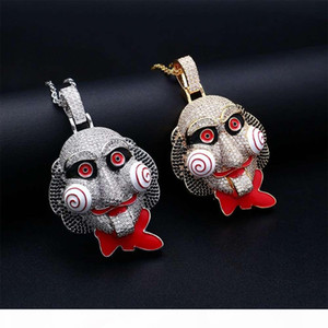the movie saw mask diamonds pendant necklaces for men hip hop luxury cartoon necklace jewelry gold plated copper zircon Cuban chain 2 colors