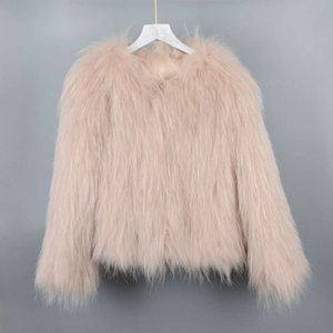 2020 new Korean raccoon dog coat women's warm autumn and winter woven clothes with fur lining