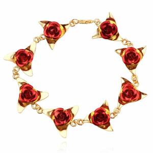 Браслет Женщины Красная роза цветы запястье браслет цепи для Леди Свадеб ювелирных изделий Bridesmaid Браслеты шарма подарка