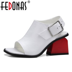 FEDONAS Women Pumps Spring Autumn Summer Genuine Leather Shoes Woman High Heels Platform Peep Toe Sandals Female Wedding Shoes 0928