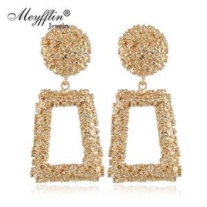 Dangle & Chandelier Meyfflin Big Geometric Drop Earrings For Women Punk Alloy Statement Earring Female Fashion Gold Color Brincos Jewelry Br