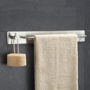 BEAU-Brushed Nickel Towel Bar Holder with Hook Hanger, No Drill Self Adhesive Hand Towel Bar Holder, Modern Bathroom Kitchen 304