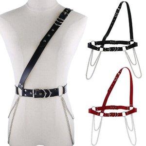 2020 new Women PU Leather Harness tassel chain Belts punk gothic silver Chain Waist Bondage Garters Adjustable Suspender Straps