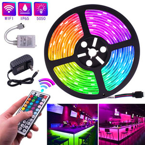 Newest Design Plastic 150-LED 12V-5050 RGB IR44 Light Strip Set with IR Remote Controller (White Lamp Plate) free delivery