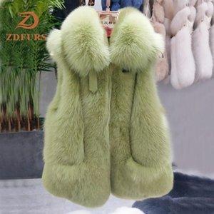 ZDFURS * 2020 nouvelles femmes naturel réel gilet de fourrure d'hiver dames Gilet sans manches en fourrure véritable manteau Femme Real Vest Gilet