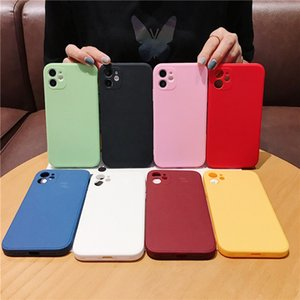New Square Solid Color Phone Case 7 8 6 6s Plus 12 Mini Simple TPU Cover For iPhone 11 Pro X XR Xs Max