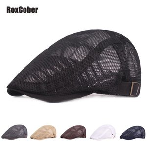 RoxCober Summer Men Women Gatsby Hat Casual Berets Hat Ivy Flat Cap Cabbie Newsboy Cap Breathable Boina Mesh Caps Adjustable