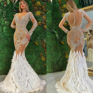 2021 Furs Arabic Aso Ebi Prom Dresses Sparkly Crystals Beading Long Sleeves Formal Gowns Evening Sexy Nude Mermaid Lace Party Dress
