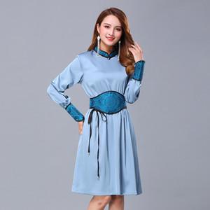 Wome Ethnic clothing Spring Autumn Silk blend Top elegant Long Sleeve Asia Dress oriental cheongsam folk dance mongolian style Stage wear