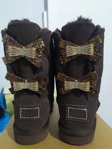 Nova Moda Mulheres Únicas Duplas Diamante Botas de Neve Feminina Inverno Couro Bow Rhinestone Crown Quente Tênis de Algodão Bota