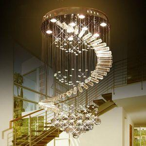 Luxo Led Raindrop Chandelier Crystal Light GU10 levou bulbo Lâmpadas Montagem Embutida Staircase aparelho de iluminação de aço inoxidável Branco Frio 110V 220V