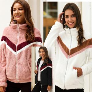 Contraste Brasão listras cor Sherpa velo Inverno Womens gola Zipper Jacket S-XXL Plush Hoodies com o Pocket Moda Outwear Tops LY1020