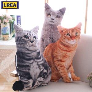 Lrea nouvelle 50cm cojines peluche jouet mignon expression simulation chat oreiller chambre canapé décorations coussin 201026