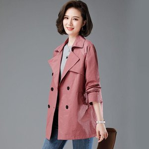 المرأة جاكيتات 2021 الخريف المرأة سترة طويلة الأكمام عارضة معطف مزدوجة الصدر سترة واقية الإناث خمر قميص زائد الحجم 4xl p616