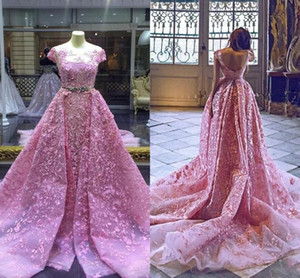 2021 Pink Prom Dresses Short Sleeves Embroidery Crystals Beaded Overskirt Custom Made Modest Evening Party Gowns Plus Size vestidos