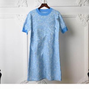 Knitted Dresses Women Classical Letter G Pattern Blue Greeen Pink Familiar Womens Knit Dress Short Sleeve Pencil Dress Hot Sale