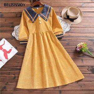 Herbst winter mori mädchen nette cord süße kleid japan stil segrose farbe elegante vintage preppy stil frauen vestidos
