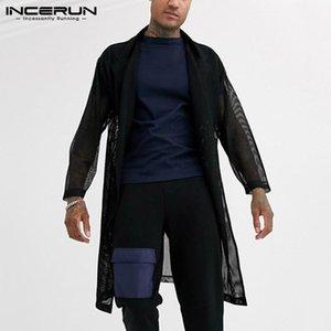 Мужские повседневные рубашки Ancerun Мода сетки мужчины длинные верхняя одежда рубашка сплошной сексуальный 2021 открытый стежок кардиган см. Через уличную одежду рукав