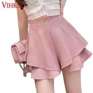 VIHKLC ZIPPER TIERED SHORTS 2020 Nuevo Pink Pink Street Chic Cintura Alta Cintura Algada Pierna ancha Mujeres Tierres Fondos elegantes T5951