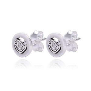 New Sparkling Pave Clear Crystal Brand Logo Heart Earrings Real 925 Sterling Silver Stud Earrings Fit Women Birthday Wedding Party Jewelry