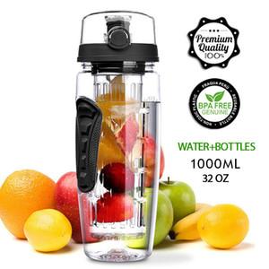 1L portátil jugo de fruta Recipientes Tritan Infuser de la coctelera de agua del deporte viajes DETOX Botella 201109