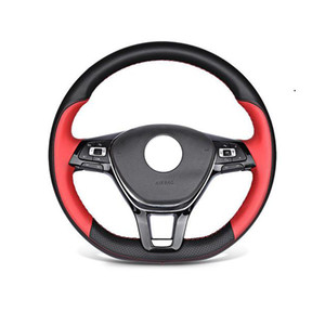 Hand-stitched Leather Steering Wheel Cover For VW Sagitar LAVIDA PASSAT MAGOTAN Lamando Tiguan L,Universal 15in