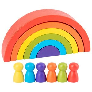 Baby Toys Large Size Rainbow Building Blocks Wooden Toys For Kids Creative Rainbow Stacker Montessori Educational Toy Children wmtNvj