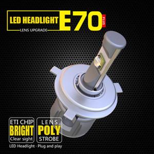 حجم ضئيلة السوبر مشرق في كل واحدة X70 E70 المصباح السيارات 12voltage الصمام 60W 6000LM 6000K H7 H4 دراجة نارية كشافات LED مع 6000K