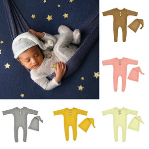 Newborn Romper Set Footed Newborn Knitted Mohair Romper + Sleepy Hat 2Pcs Set Cute Baby Photography Prop jumpsuits M3202