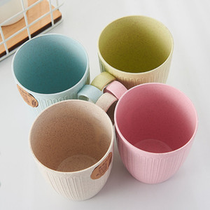 Wheat straw mouthwash cup with handle water cup household toothbrush couple drinking cup simple and fashionable