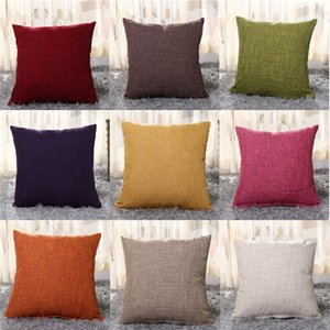 Solid Color Linen Pillow Case Santa Claus Printing Dyeing Sofa Bed Home Decor Pillow Cover Bedroom Christmas Cushion Cover