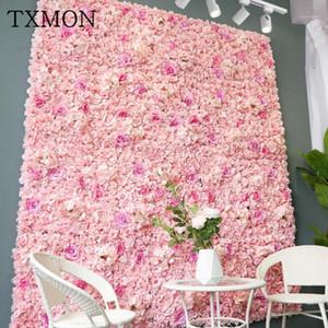 TXMON de alta calidad 45 * 65cm Seda rosa flor artificial decoración de la boda pared de la flor romántica para el fondo de boda decoración1