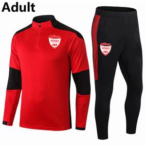 2020 21 Nimes Olympique soccer Tracksuit Sets adult soccer jogging jacket pants Survetement sports winter soccer training suit Running Sets