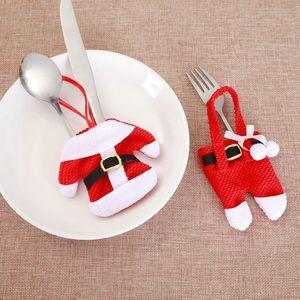 Noel Cep Çatal Bıçak Çatal Tutucu Çanta Noel Giyim Pantolon Çatal Çanta Çatal Sahipleri Tablo bulaşığı Organizatörler BH4322 M.Ö.