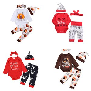 Fashion Children's Thanksgiving Halloween Christmas Holiday Letter Print Long Sleeve 100% Cotton Four piece suit Top Pants Skirt Holiday Set