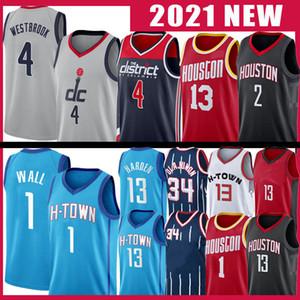 13 Harden John 1 Wall Russell 4 Westbrook Basket Blayball Jersey Hakeem 34 Olajuwon 2021 New Mens Jerseys Black Red