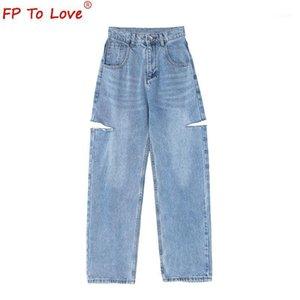 FP любить женщину дизайн джинсы 2021 весенний осенний стиль улицы разорвал вырезать полную длину высокая талия светло-голубая молния широкие ноги штанты1
