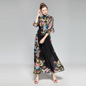 Urumbassa Women three quarter sleeve bohemian dress 2018 spring floral print elegant dress Fashion ladies vacation chiffon dress