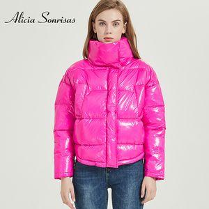 Winter Glossy Jacket For Women Rose Red Parka Female Bread Winter Down Parkas Parka Cotton Padded Shiny Waterprooft Coat 201014