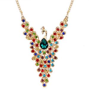 Nuevo diseño de lujo de color oro Peacock Multicolor creó un collar de diamantes para las mujeres de la boda al por mayor envío gratis