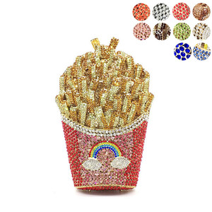 Designer-Newest Bridal wedding party purses women evening party special bag diamonds French fry fries rainbow clutches crystal purses