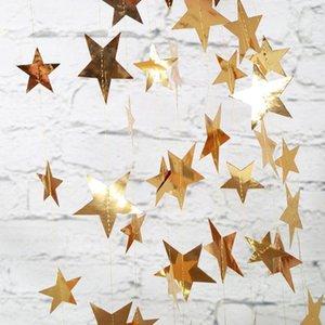 Papel de prata 4M Bright Gold Garland estrela do casamento da bandeira para o partido de Cordas Banners Início Wall Hanging Decoração baby shower favores