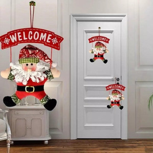 2020 New Year Cloth Santa Claus Door Hanging Sign Ornament Christmas Decoration For Home Wooden Pendant Xmas Gift Drop shipping