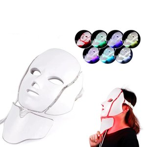 Newest 7 Color LED light Therapy face Beauty Machine LED Facial Neck Mask With Microcurrent for skin whitening device DHL free shipment