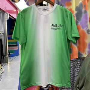Krawatte Farbstoff Oansatz T-shirts Männer Frauen Lose Briefdruck Grün T-Shirt Echtes Bild