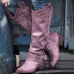 NouC Frauen Stiefel Reißverschluss Mitte Kalb Pu Leder-beiläufige Womans Booties Gürtelschnalle Design Mode-runde Zehe-Damen-Schuhe