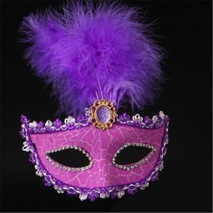 Kadınlar Venedikli Boyalı Tüy Masquerade Cadılar Bayramı Çatlak Kapak Carnival Mezuniyet Bar Parti göster Yüz Maskeleri Maske
